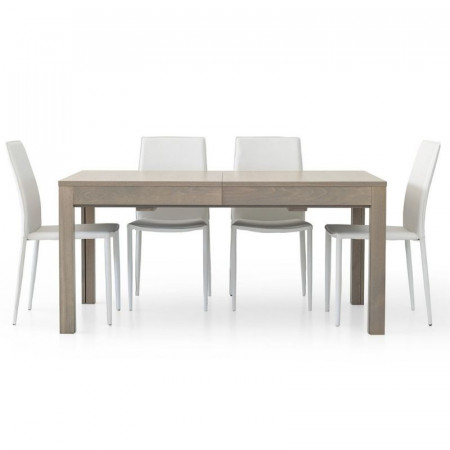 Rectangular table Lar s 2 in gray oak laminate, with 4 extensions of 43