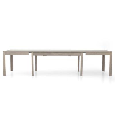 Table rectangulaire Lar s 2 en stratifié chêne gris, avec 4 rallonges de 43