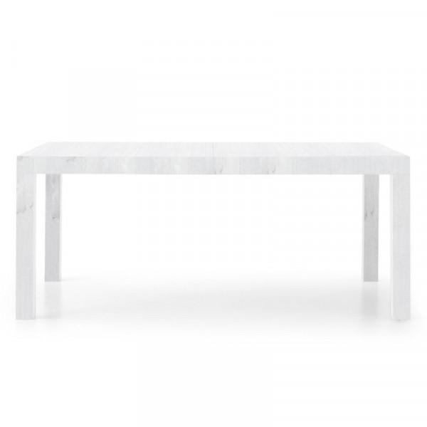 Table rectangulaire Sami 2 en stratifié frêne blanc avec 2 rallonges de 50 cm