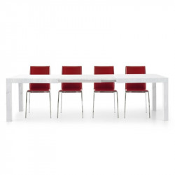 Sami 2 rectangular table in white ash laminate with 2 extensions of 50 cm