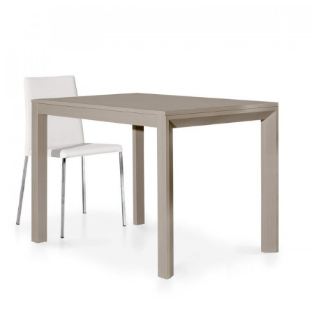 Modern table in dove gray laminate with 1 extension of 50 cm