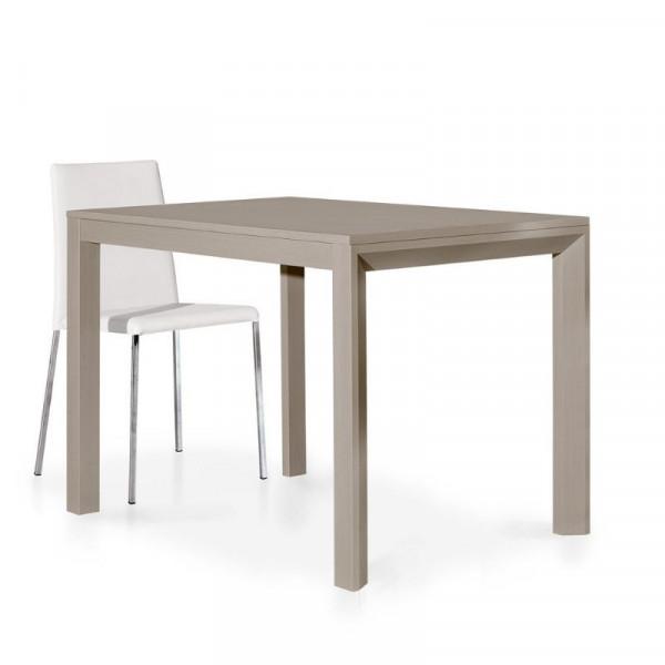 Table moderne en stratifié gris tourterelle avec 1 rallonge de 50 cm