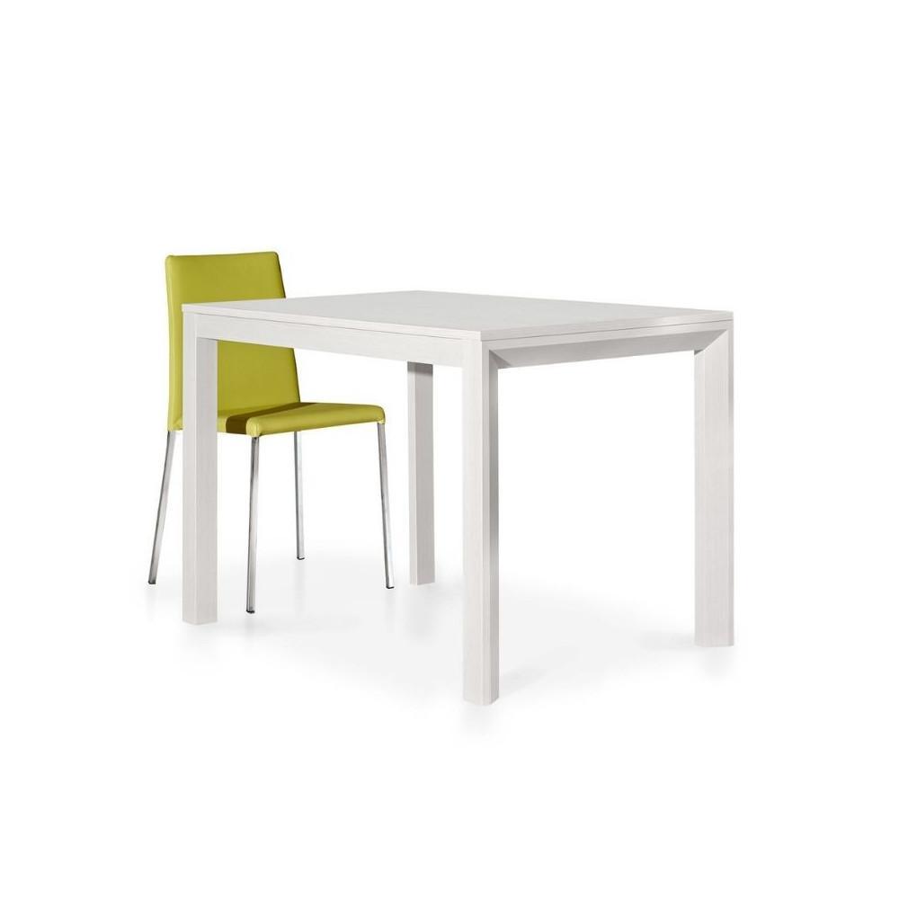 Table moderne en stratifié frêne blanc