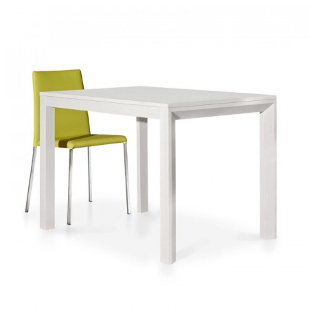 Modern table in white ash laminate with 1 extension of 50 cm