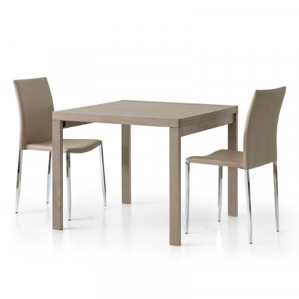 Sonia 1 square extendable table in dove gray laminate, 4 seats