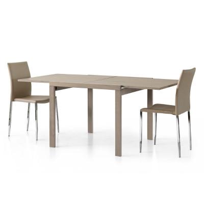 Table carrée extensible Sonia 1 en stratifié gris tourterelle, 4 places