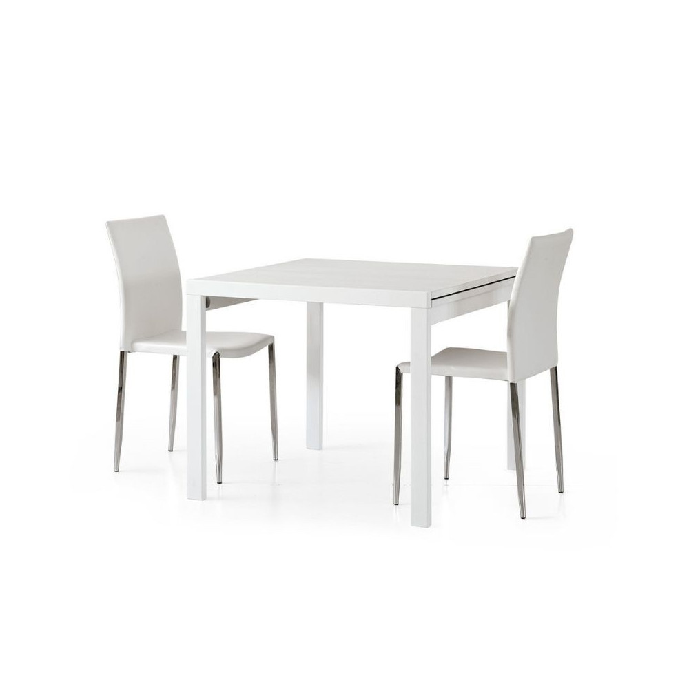 Sonia 2 square extendable table in white