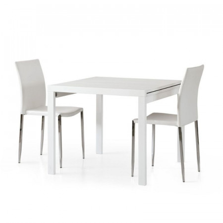 Sonia 2 square extendable table in white ash laminate, 4 seats