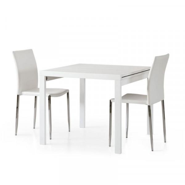 Table carrée extensible Sonia 2 en stratifié frêne blanc, 4 places