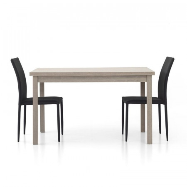 Table rectangulaire moderne Focus 1 en stratifié chêne gris avec 2 rallonges de 40 cm