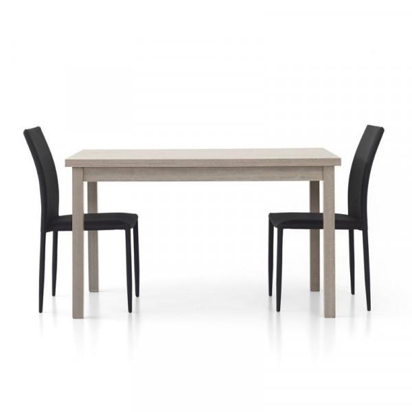 Tavolo moderno Focus 1 rettangolare, laminato rovere grigio con 2 allunghe da 40 cm