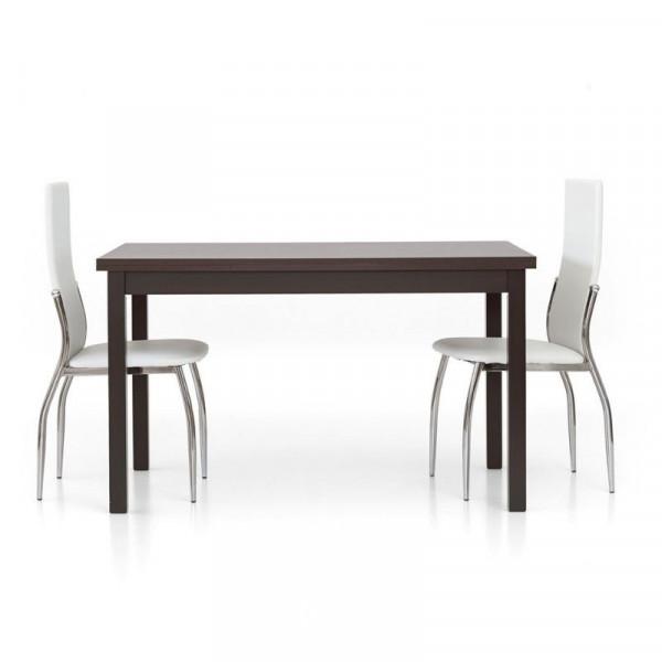 Tavolo moderno Focus 2 rettangolare, laminato rovere moro wengè con 2 allunghe da 40 cm
