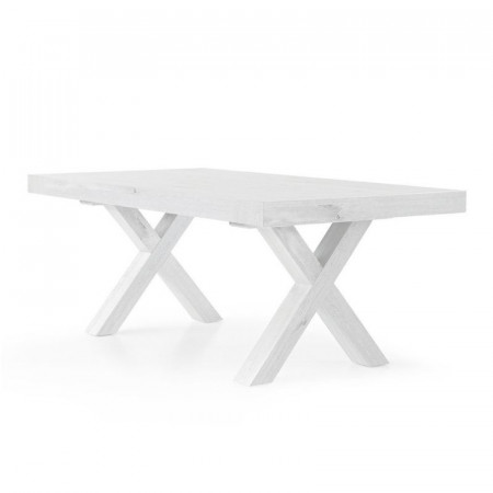 Yucca extendable table, with structure and top in worn white oak laminate, with 2 extensions of 50 cm