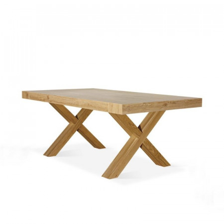 Yucca extendable table, with structure and top in worn natural oak effect laminate, with 2 extensions of 50 cm