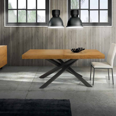 Pelago extendable table veneered in knotted oak