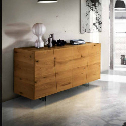 Siria sideboard with 4 hinged doors in knotted oak