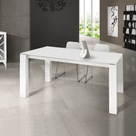 Orchidea laminate table with brushed fir-effect top and 2 extensions of 45 cm