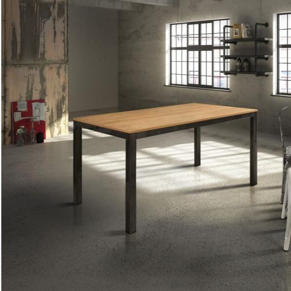 Tavolo rettangolare Sangro, piano in laminato rovere, con 1 allunga da 60 cm