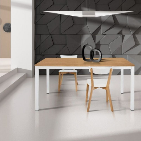 Primula rectangular table, oak laminate top, with 1 extension of 50 cm