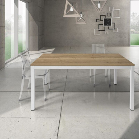 Silenia rectangular table with knotted oak laminate top, 1 extension of 50 cm