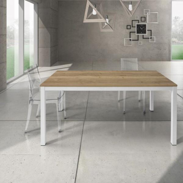 Table rectangulaire Silenia avec plateau en stratifié chêne noué, 1 rallonge de 50 cm