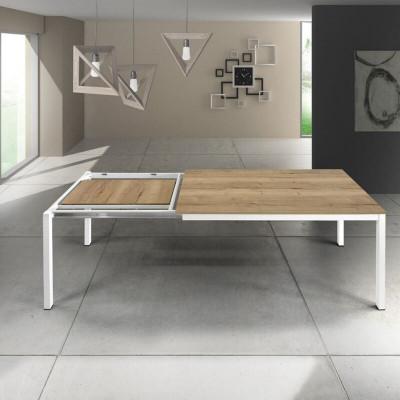 Tavolo rettangolare Silenia con piano in laminato rovere nodato, 1 allunga da 50 cm