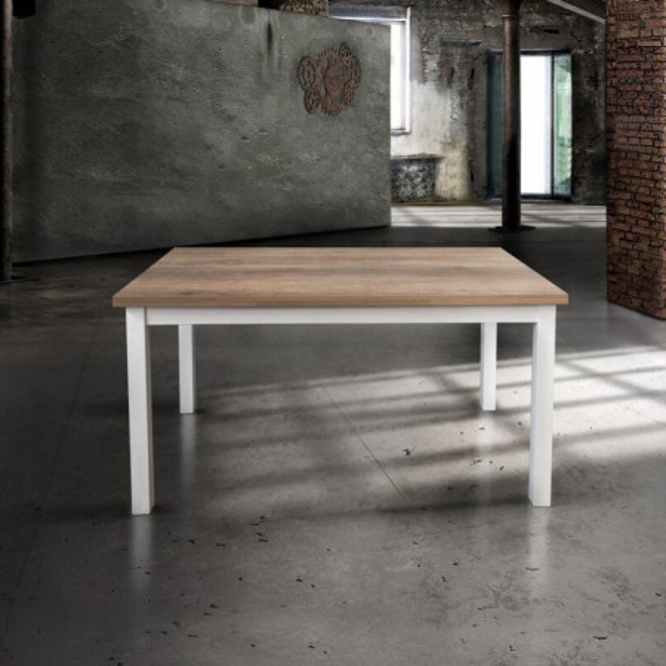 Tavolo rettangolare Savio con il piano in laminato rovere, struttura in metallo bianco, 2 allunghe da 40 cm