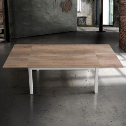 Savio rectangular table with oak laminate top, white metal structure, 2 extensions of 40 cm