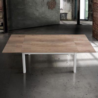 Tavolo rettangolare con il piano in laminato rovere, struttura in metallo bianco, 2 allunghe da 40 cm
