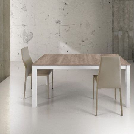Velino rectangular table in oak laminate, white metal structure, with 2 extensions of 43 cm in the center