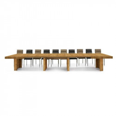 Table Prime structure et plateau en mélaminé chêne noué, coloris noyer, avec 5 rallonges de 50 cm