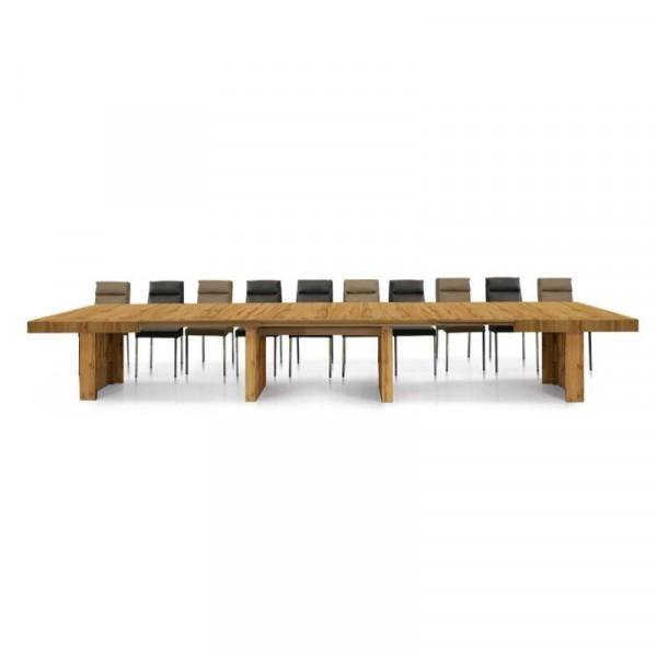 Tavolo Prime struttura e piano in nobilitato rovere nodato, colore noce, con 5 allunghe da 50 cm